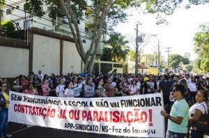 Ato público acontece em frente ao Núcleo Regional de Educação - foto Marcos Labanca (arquivo)